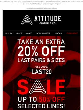LAST ONES SALE - TAKE AN EXTRA 20% OFF