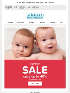Save up to 40% in the Kiddicare Summer Sale