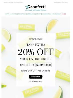 Sitewide Sale + EXTRA 20% Off With Code!