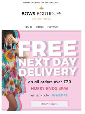 FREE Next Day DELIVERY! Ends 4pm!