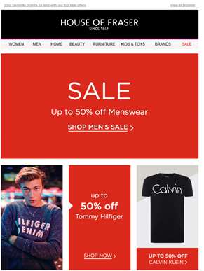 Top offers: up to 50% off Tommy Hilfiger, Calvin Klein and more