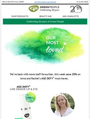 Save 20% on Age Defy+ staff favourites | Green People