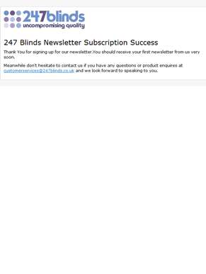 247 Blinds: Newsletter subscription success