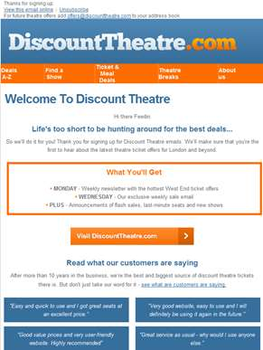 What to expect from your DiscountTheatre.com emails