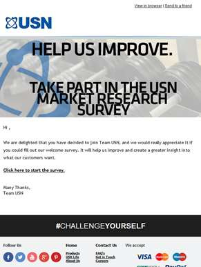 Help us help you, by taking the USN Welcome Survey