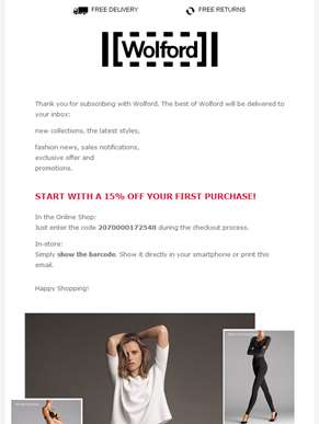 Welcome to Wolford! Get a 15% off your first purchase.