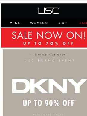MASSIVE savings - up to 90% OFF* DKNY!