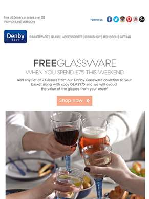 Free Denby Glassware in our Summer Sale weekend offer