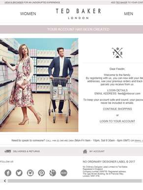Success! Your shiny new Ted Baker account has been set up