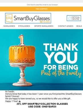 ?? Feedin Happy 1 Year with SmartBuyGlasses! Gift inside…