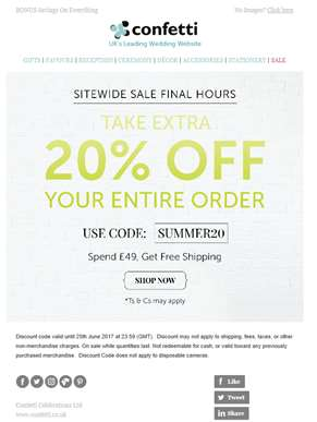 Final Hours To Take An Extra 20% Off Sale Prices!