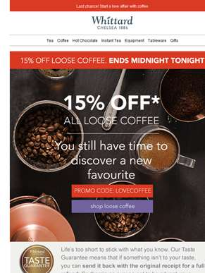 15% off all loose coffee ends tonight