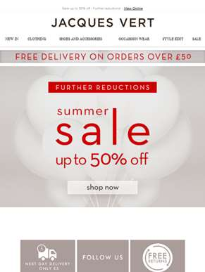 Sale up to 50% off - Further reductions!