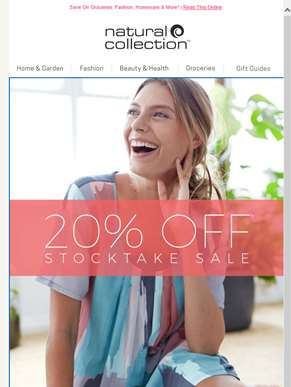 20% Off* Stocktake Sale