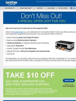Email Only: $10 off your next order at BrotherMall