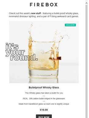New Stuff: Bulletproof Whisky Glass, The Confessions Game...