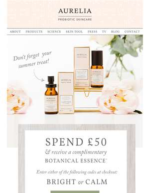 Don't Forget to Brighten or Calm your Skin with a Gift From Us...