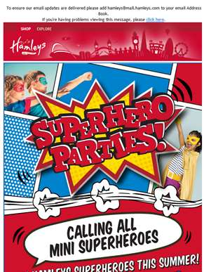 Book now a Superhero Party this summer at Hamleys!