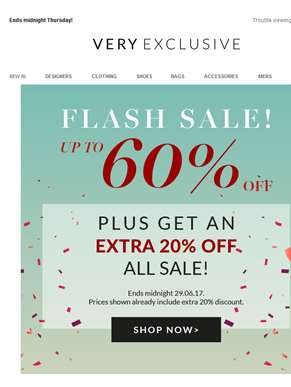 Up to 60% OFF plus an EXTRA 20% off all sale!