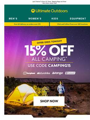 Act Fast: 15% Off Camping Ends Tonight