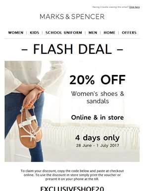 FLASH DEAL: 20% off shoes & sandals