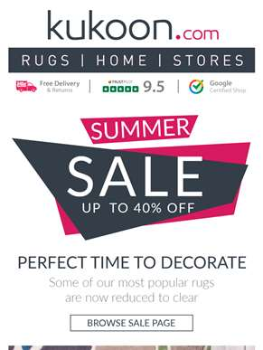 UP TO 40% OFF Our Most Popular Rugs - ? Summer Sale Now On ?