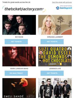 Boyzone, Miranda Lambert, Mark Lanegan Band, Legends Live & much more…