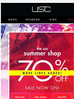 BIG Summer Savings! Up to 70% OFF!