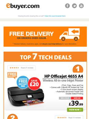 Hi  - HP Wireless All-in-one Inkjet Printer - Now Under £40
