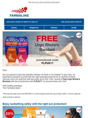 Prepare yourself for an easy-going summer with a FREE Urgo Blisters Bandaid and other products you d