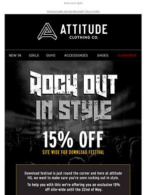 15% off site wide for Download Festival!