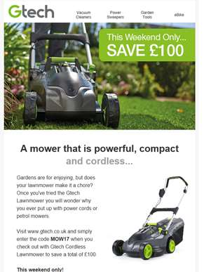 Save £100 when you buy the Gtech Lawnmower