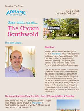 Stay with us at The Crown, Southwold
