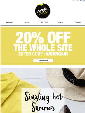 Sizzling summer saving! Get 20% Off the whole site