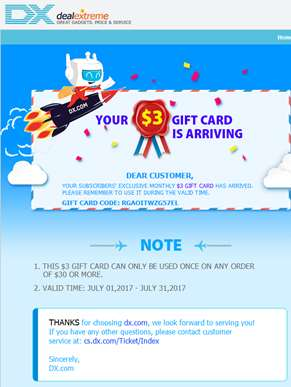 Your $3 gift card is arriving