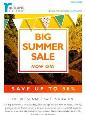 Rutland Cycling Big Summer Sale Now On!
