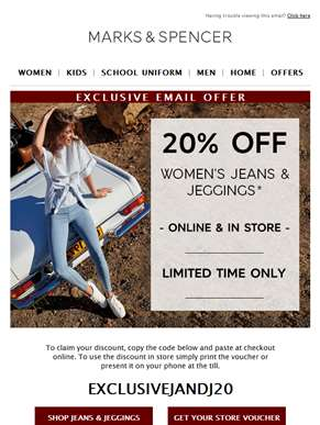 EXCLUSIVE: 20% off jeans & jeggings