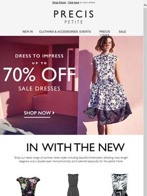 Dress to impress - up to 70% off sale dresses + latest arrivals