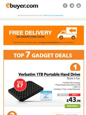 Verbatim 1TB Portable HDD - Now Only £43.98