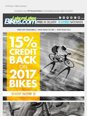 15% Credit Back on 2017 Bikes!