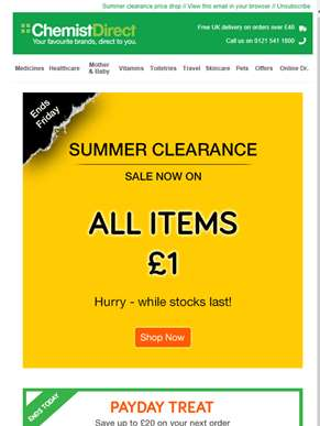 Summer clearance price drop - grab a bargain!