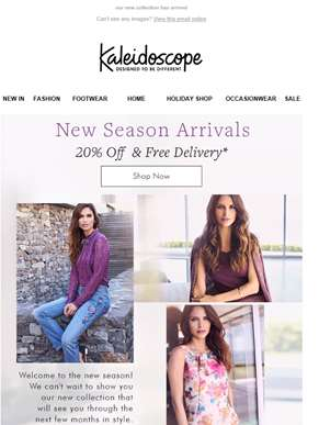 20% Off New Season Arrivals. Plus, Free Delivery!