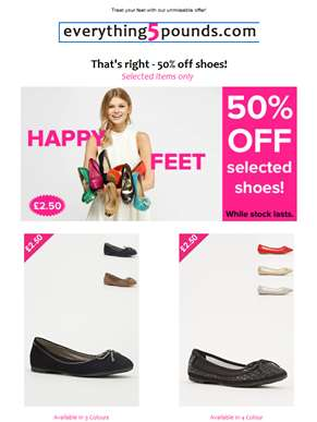 Ahoy , £2.50 shoes for everyone! Probably cheaper than your socks!