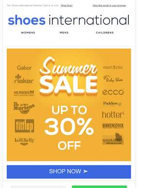 Up to 30% Off in The Shoes International Summer Sale