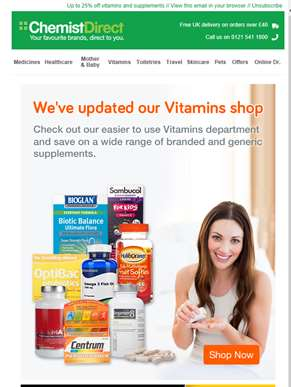 Multivitamins from only 10p per tablet in our updated Vitamins shop