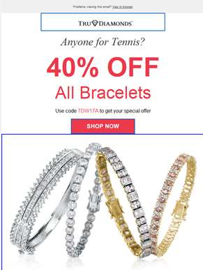 Wimbledon Offer – 40% OFF ALL BRACELETS!