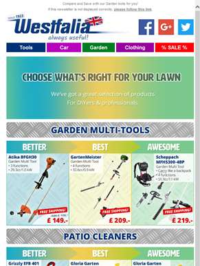 Compare and Save on our Selection of Garden Tools