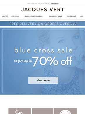 Blue Cross Sale now up to 70% off!