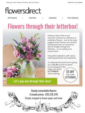 Now deliver through the letterbox + £5 off voucher
