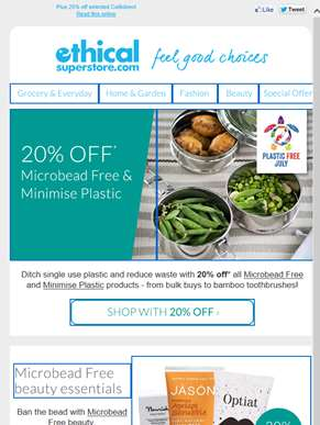 Ditch the plastic with 20% off!
